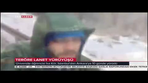 Üsküdar Üniversitesi öğrencisi İsa Kör teröre tepki için İstanbul'dan çıktığı Ankara yolculuğunu tamamladı.