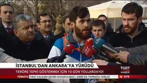 Teröre tepki için Üsküdar'dan Ankara TBMM'ye yürüdü